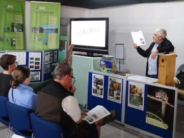 Mike Fox talking about Pollinator Link with guests at the Sustainability Centre Open Day